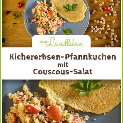 Rezept: Kichererbsen-Pfannkuchen mit Couscous-Salat