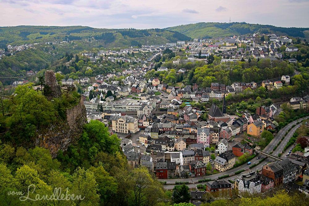 Blick von Schloss Oberstein über Idar-Oberstein