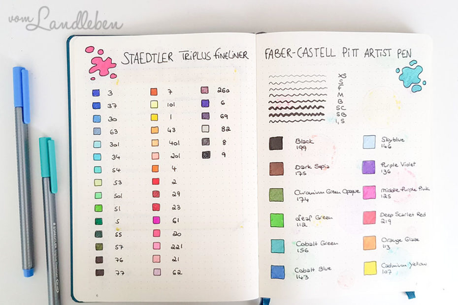 Swatch Spread im Bullet Journal
