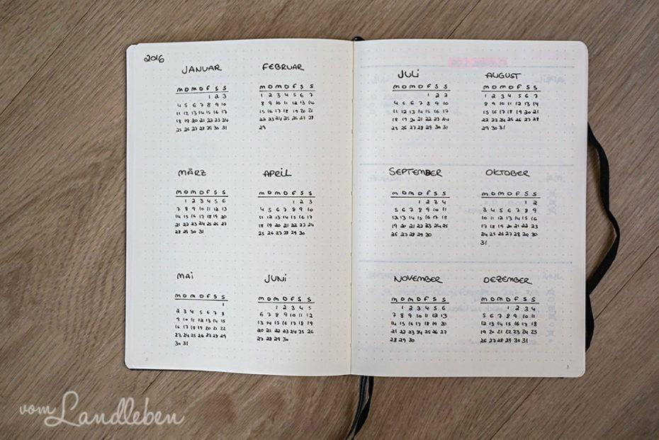 Future Log - Jahresübersicht im Bullet Journal