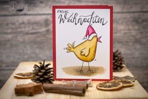Selbstgebastelte Weihnachtskarte mit Huhn