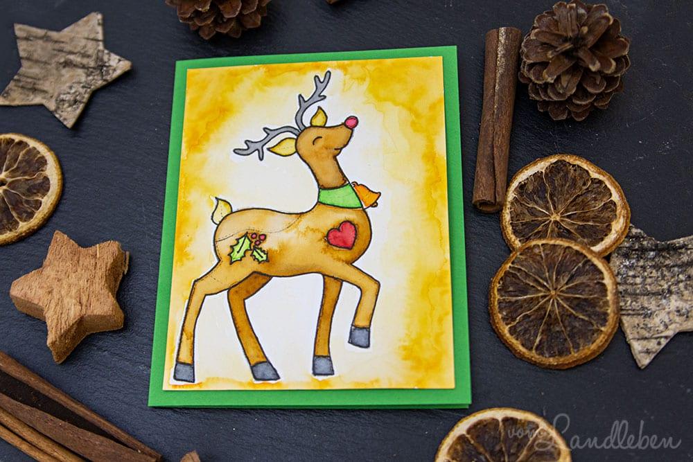 Selbstgebastelte Weihnachtskarte mit Rudi Rentier