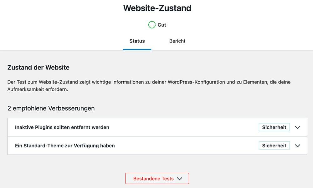 WordPress: Website-Zustand